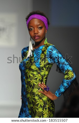 Los Angeles, CA - MARCH 11: A model walks the runway at Messqueen show during Style Fashion Week Fall 2014 at The LA Live Event Deck on March 11, 2014 in LA  - stock photo