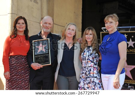 LOS ANGELES, CA - MARCH 13, 2015: Actor Ed Harris with Marcia Gay Harden, Amy Madigan, Holly Hunter & Glenne Headly on Hollywood Blvd where he was honored with a star on the Hollywood Walk of Fame.  - stock photo
