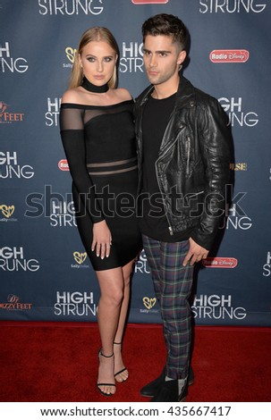 "LOS ANGELES, CA - MARCH 29, 2016: Actor Max Ehrich & actress Veronica Dunne at the premiere for ""High Strung"" at the TCL Chinese 6 Theatres, Hollywood.