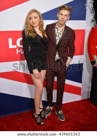 "LOS ANGELES, CA - MARCH 1, 2016: Actress Peyton List & actor Aidan Alexander at the Los Angeles premiere of ""London Has Fallen"" at the Cinerama Dome, Hollywood.