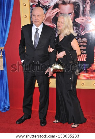 """LOS ANGELES, CA - MARCH 11, 2013: Alan Arkin & wife at the world premiere of his movie """"The Incredible Burt Wonderstone"""" at the Chinese Theatre, Hollywood. - stock photo"""