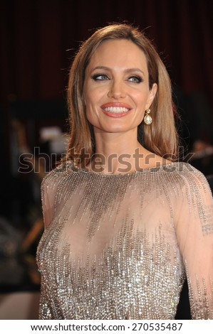 LOS ANGELES, CA - MARCH 2, 2014: Angelina Jolie at the 86th Annual Academy Awards at the Hollywood & Highland Theatre, Hollywood.  - stock photo