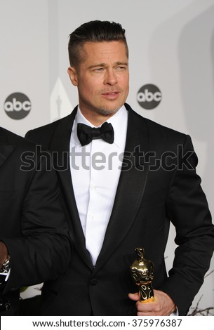 LOS ANGELES, CA - MARCH 2, 2014: Brad Pitt at the 86th Annual Academy Awards at the Dolby Theatre, Hollywood.  - stock photo
