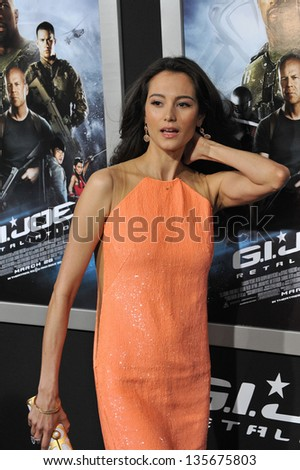"""LOS ANGELES, CA - MARCH 28, 2013: Emma Heming at the Los Angeles premiere of """"G.I. Joe: Retaliation"""" at the Chinese Theatre, Hollywood. - stock photo"""