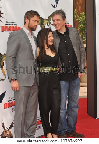 "LOS ANGELES, CA - MARCH 21, 2010: Gerard Butler (left), America Ferrera & Craig Ferguson at the premiere of Dreamworks Animation's ""How To Train Your Dragon"" at Gibson Amphitheatre, Universal Studios. - stock photo"