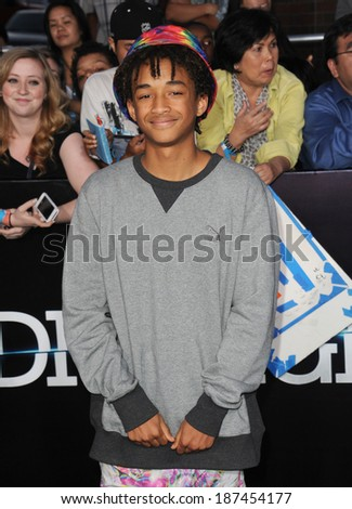 "LOS ANGELES, CA - MARCH 18, 2014: Jaden Smith at the Los Angeles premiere of ""Divergent"" at the Regency Bruin Theatre, Westwood.  - stock photo"