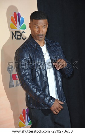 LOS ANGELES, CA - MARCH 29, 2015: Jamie Foxx at the 2015 iHeart Radio Music Awards at the Shrine Auditorium.  - stock photo