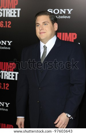 LOS ANGELES, CA - MARCH 13:  Jonah Hill at the premiere of Columbia Pictures '21 Jump Street' held at Grauman's Chinese Theater on March 13, 2012 in Los Angeles, California - stock photo