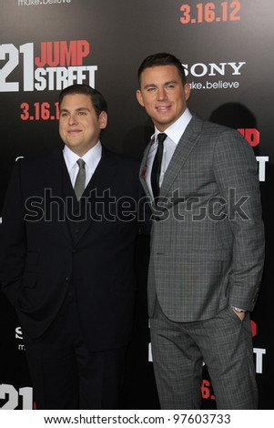 LOS ANGELES, CA - MARCH 13: Jonah Hill, Channing Tatum at the premiere of Columbia Pictures '21 Jump Street' held at Grauman's Chinese Theater on March 13, 2012 in Los Angeles, California - stock photo