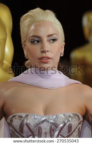 LOS ANGELES, CA - MARCH 2, 2014: Lady Gaga at the 86th Annual Academy Awards at the Hollywood & Highland Theatre, Hollywood.  - stock photo