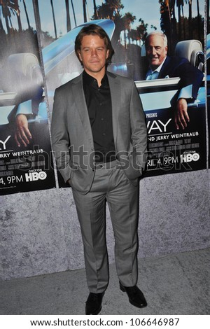 "LOS ANGELES, CA - MARCH 22, 2011: Matt Damon at the premiere of ""His Way"", about  Jerry Weintraub at Paramount Studios, Hollywood. March 22, 2011  Los Angeles, CA - stock photo"