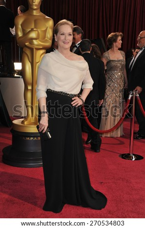 LOS ANGELES, CA - MARCH 2, 2014: Meryl Streep at the 86th Annual Academy Awards at the Hollywood & Highland Theatre, Hollywood.  - stock photo