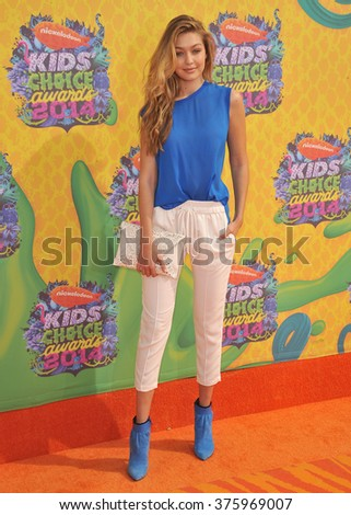 LOS ANGELES, CA - MARCH 29, 2014: Model Gigi Hadid at Nickelodeon's 27th Annual Kids' Choice Awards at the Galen Centre, Los Angeles.  - stock photo