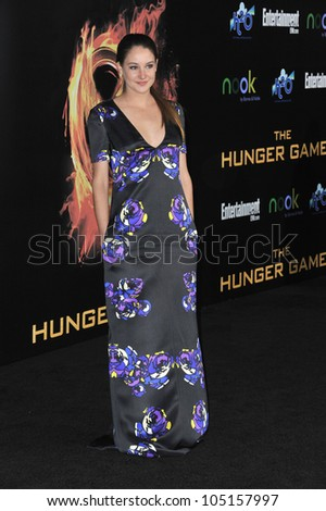 "LOS ANGELES, CA - MARCH 12, 2012: Shailene Woodley at the world premiere of ""The Hunger Games"" at the Nokia Theatre L.A. Live. March 12, 2012  Los Angeles, CA - stock photo"