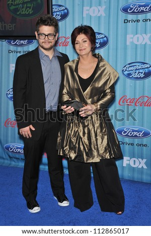 LOS ANGELES, CA - MARCH 5, 2009: Sharon Osbourne & son Jack Osbourne at the American Idol Final 13 Party at Area Nightclub, West Hollywood. - stock photo