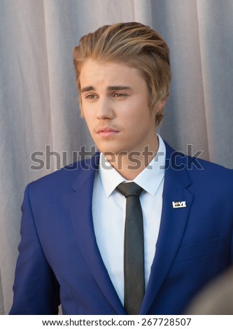 LOS ANGELES, CA - MARCH 14, 2015: Singer Justin Bieber at the Comedy Central Roast of Justin Bieber at Sony Studios, Culver City.  - stock photo