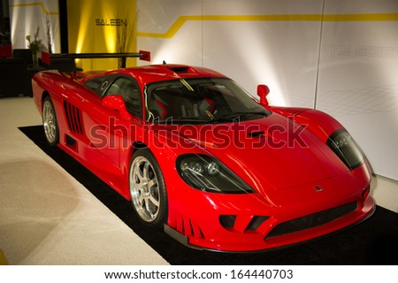 LOS ANGELES, CA - NOVEMBER 20: A Saleen S7 on exhibit at the Los Angeles Auto Show in Los Angeles, CA on November 20, 2013 - stock photo