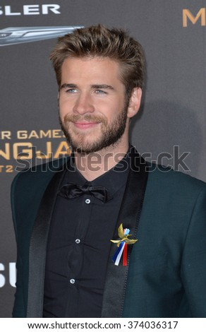 "LOS ANGELES, CA - NOVEMBER 16, 2015: Actor Liam Hemsworth at the Los Angeles premiere of his movie ""The Hunger Games: Mockingjay - Part 2"" at the Microsoft Theatre, LA Live. 