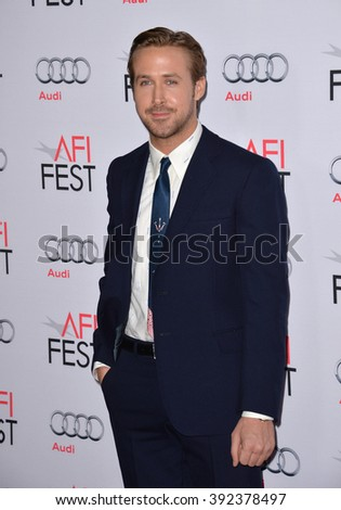 "LOS ANGELES, CA - NOVEMBER 12, 2015: Actor Ryan Gosling at the world premiere of his movie ""The Big Short"" at the TCL Chinese Theatre - stock photo"