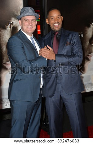 """LOS ANGELES, CA - NOVEMBER 10, 2015: Actors Will Smith (right) & Mike O'Malley at the premiere of their movie """"Concussion"""" at the TCL Chinese Theatre - stock photo"""