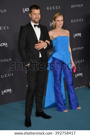 LOS ANGELES, CA - NOVEMBER 7, 2015: Actress Diane Kruger & actor husband Joshua Jackson at the 2015 LACMA Art+Film Gala at the Los Angeles County Museum of Art - stock photo