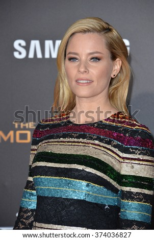 """LOS ANGELES, CA - NOVEMBER 16, 2015: Actress Elizabeth Banks at the Los Angeles premiere of her movie """"The Hunger Games: Mockingjay - Part 2"""" at the Microsoft Theatre, LA Live.  - stock photo"""