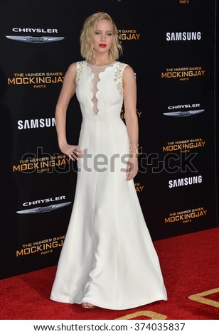 """LOS ANGELES, CA - NOVEMBER 16, 2015: Actress Jennifer Lawrence at the Los Angeles premiere of her movie """"The Hunger Games: Mockingjay - Part 2"""" at the Microsoft Theatre, LA Live.  - stock photo"""