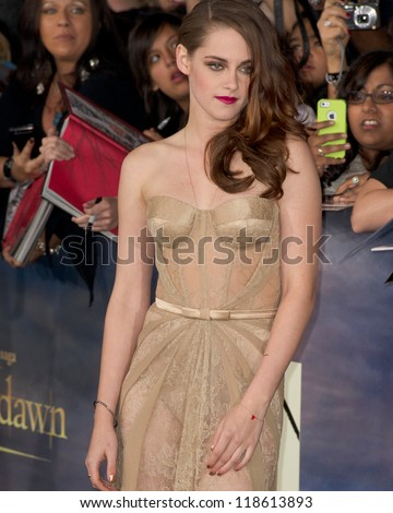 LOS ANGELES, CA - NOVEMBER 12: Actress Kristen Stewart arrives at the premiere of The Twilight Saga: Breaking Dawn - Part 2 at the Nokia Theater in Los Angeles, CA on November 12, 2012 - stock photo