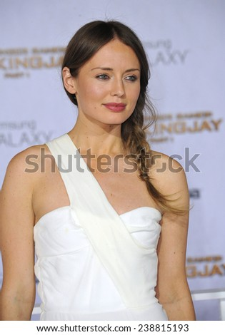 "LOS ANGELES, CA - NOVEMBER 17, 2014: Actress Laura Haddock at the Los Angeles premiere of ""The Hunger Games: Mockingjay Part One"" at the Nokia Theatre LA Live.  - stock photo"