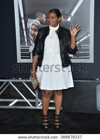 """LOS ANGELES, CA - NOVEMBER 19, 2015: Actress Octavia Spencer at the Los Angeles World premiere of """"Creed"""" at the Regency Village Theatre, Westwood. - stock photo"""