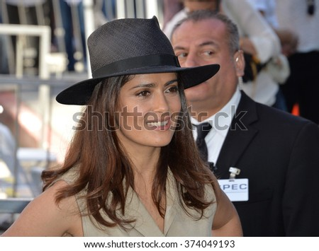 LOS ANGELES, CA - NOVEMBER 5, 2015: Actress Salma Hayek on Hollywood Boulevard where director Ridley Scott was honored with the 2,564th star on the Hollywood Walk of Fame.