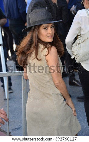 LOS ANGELES, CA - NOVEMBER 5, 2015: Actress Salma Hayek on Hollywood Boulevard where director Ridley Scott was honored with a star on the Walk of Fame - stock photo