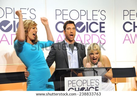 LOS ANGELES, CA - NOVEMBER 4, 2014: Actresses Allison Janney & Anna Faris with actor Dylan McDermott at the nominations announcement for the 2015 People's Choice Awards at the Paley Center for Media.  - stock photo