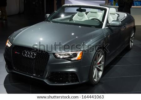 LOS ANGELES, CA - NOVEMBER 20: An Audi RS5 on exhibit at the Los Angeles Auto Show in Los Angeles, CA on November 20, 2013 - stock photo