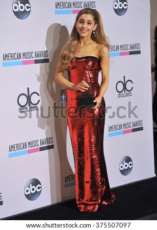 LOS ANGELES, CA - NOVEMBER 24, 2013: Ariana Grande in the pressroom at the 2013 American Music Awards at the Nokia Theatre, LA Live.  - stock photo