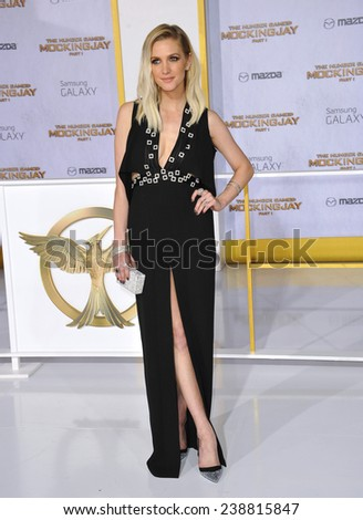 "LOS ANGELES, CA - NOVEMBER 17, 2014: Ashlee Simpson at the Los Angeles premiere of ""The Hunger Games: Mockingjay Part One"" at the Nokia Theatre LA Live.  - stock photo"