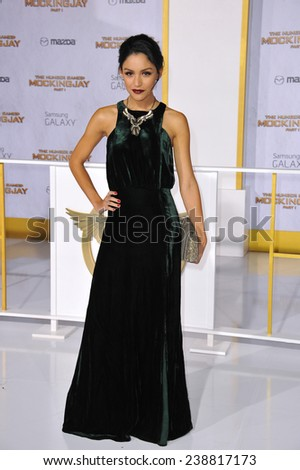 "LOS ANGELES, CA - NOVEMBER 17, 2014: Bianca Santos at the Los Angeles premiere of ""The Hunger Games: Mockingjay Part One"" at the Nokia Theatre LA Live.  - stock photo"