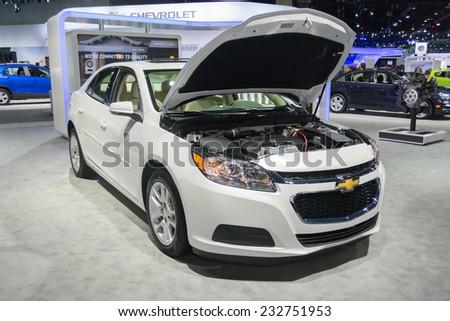 Los Angeles, CA - November 19, 2014: Chevrolet Malibu LT 2015on display at the LA Auto Show - stock photo