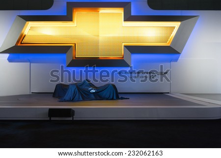 Los Angeles, CA - November 19, 2014: Chevrolet press conference to debut car on display at the LA Auto Show - stock photo