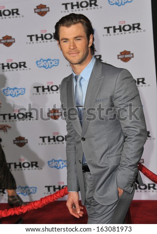 "LOS ANGELES, CA - NOVEMBER 4, 2013: Chris Hemsworth at the US premiere of his movie ""Thor: The Dark World"" at the El Capitan Theatre, Hollywood.  - stock photo"