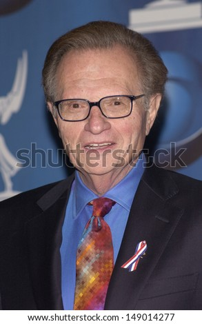 LOS ANGELES, CA - NOVEMBER 4, 2001: CNN presenter LARRY KING at the 53rd Annual Primetime Emmy Awards in Century City, California.  - stock photo