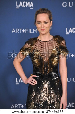 LOS ANGELES, CA - NOVEMBER 2, 2013: Dakota Johnson at the 2013 LACMA Art+Film Gala at the Los Angeles County Museum of Art.