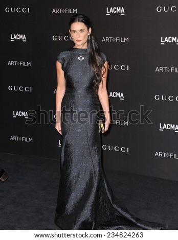 LOS ANGELES, CA - NOVEMBER 1, 2014: Demi Moore at the 2014 LACMA Art+Film Gala at the Los Angeles County Museum of Art.  - stock photo