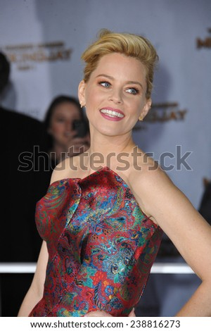 """LOS ANGELES, CA - NOVEMBER 17, 2014: Elizabeth Banks at the Los Angeles premiere of her movie """"The Hunger Games: Mockingjay Part One"""" at the Nokia Theatre LA Live.  - stock photo"""