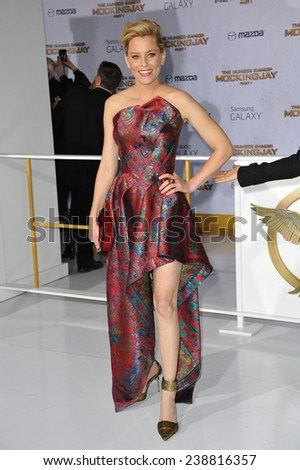 "LOS ANGELES, CA - NOVEMBER 17, 2014: Elizabeth Banks at the Los Angeles premiere of her movie ""The Hunger Games: Mockingjay Part One"" at the Nokia Theatre LA Live.  - stock photo"