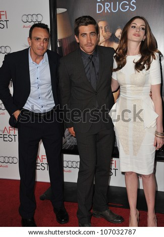 "LOS ANGELES, CA - NOVEMBER 4, 2010: Hank Azaria (left),  Jake Gyllenhaal & Anne Hathaway at the world premiere of their new movie ""Love & Other Drugs"" at Grauman's Chinese Theatre, Hollywood. - stock photo"