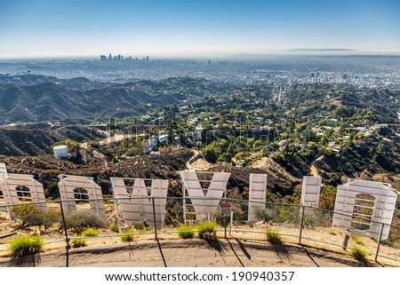 LOS ANGELES, CA - NOVEMBER 19, 2013: Hollywood sigh white letters and Hollywood hills, view from top of Mount Lee seen on November 19, 2013 in Los Angeles, California. - stock photo