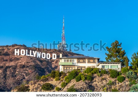 LOS ANGELES, CA - NOVEMBER 22: Hollywood sigh white letters on Mount Lee  on November 22, 2013 in Los Angeles, California. - stock photo
