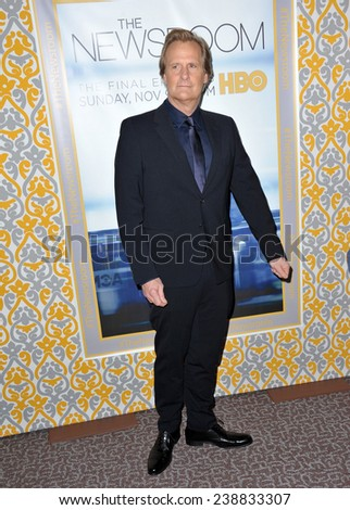 """LOS ANGELES, CA - NOVEMBER 4, 2014: Jeff Daniels at the season three premiere of his HBO series """"The Newsroom"""" at the Directors Guild of America Theatre, West Hollywood.  - stock photo"""