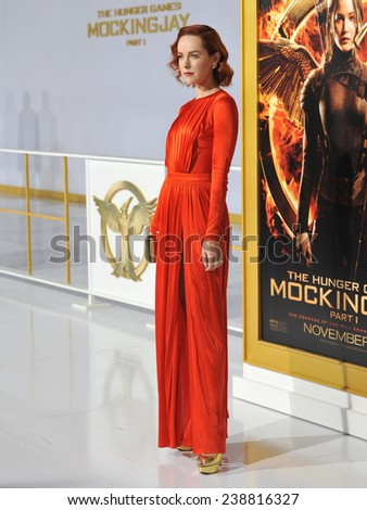 "LOS ANGELES, CA - NOVEMBER 17, 2014: Jena Malone at the Los Angeles premiere of her movie ""The Hunger Games: Mockingjay Part One"" at the Nokia Theatre LA Live.  - stock photo"